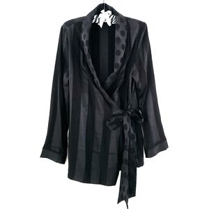 Victoria secret black kimono dot robe XS S